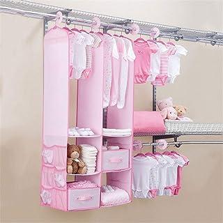 Organizadores de armario para colgar; set de organizadores para armarios infantiles, estantes de almacenamiento con 2 cajones, 6 separadores de armario y 10 perchas para ropa.