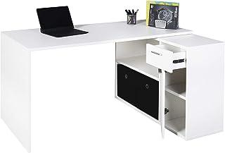RICOO WM083-WM Bureau Angle avec Rangement Table Console Extensible Meuble Bureau avec tiroir Étagère Armoir à Dossier Boi...