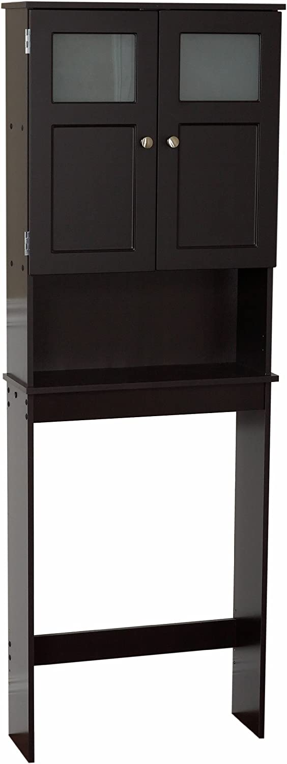 Zenith Products Wood Moderne Frosted Glass Window Spacesaver, Espresso