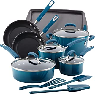 Rachael Ray 17626 Brights Nonstick Cookware Pots and Pans Set, 14 Piece, Marine Blue
