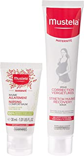 MUSTELA New Mom's Gift Set, Nursing Comfort Balm, 30 ml + Stretch Marks Recovery Serum, 75 ml