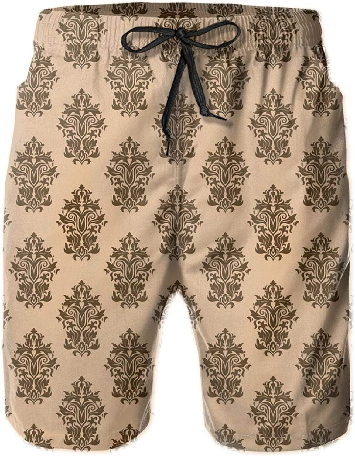 Floral Ancient Motifs with Classical Design Victorian Garden Themed Foliage Mens Swim Trucks Shorts with Mesh Lining,XXL
