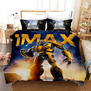 NOOS 3D Marvel Transformers Duvet Cover Set for Boys Optimus Prime and Bumblebee Bedding Set Twin Size, 100% Microfiber Kids and Teens Bed Set 3pcs, 1 Duvet Cover, 2 Pillowcases