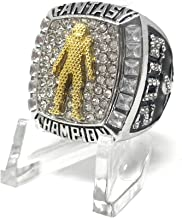 Legacy Rings 2019 Fantasy Football Championship Trophy Ring, Two-Tone Silver and Gold Plated + Display Stand, Many Sizes