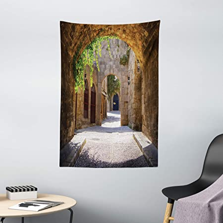 Ambesonne Tuscan Tapestry Italian Street In A Small Provincial Town Of Tuscan Italy European Wall Hanging For Bedroom Living Room Dorm Decor 40 X 60 Brown Green Home Kitchen