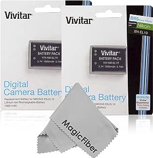 (2 Pack) Vivitar EN-EL19 Li-ion Batteries for NIKON Coolpix S100, S32, S33, S3400, S3500, S3600, S3700, S4100, S4150, S4300, S4200, S4400, S7000, S6800, S6600, S6500, S6400, S5200, S5300