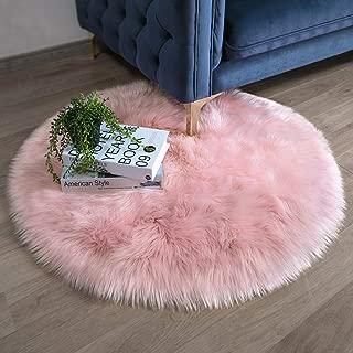 Ashler Faux Fur Pink Round Area Rug Indoor Ultra Soft Fluffy Bedroom Floor Sofa Living..