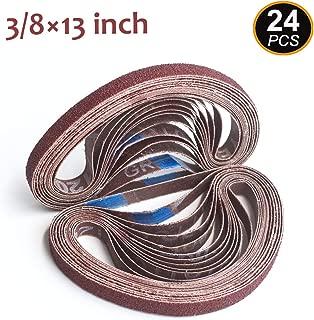 Aiyard 3/8 x 13-Inch Aluminum Oxide Sanding Belts, 40/60/80/120/180/240 Assorted Grits Abrasive File Belts for Air Belt Sander, 24-Pack