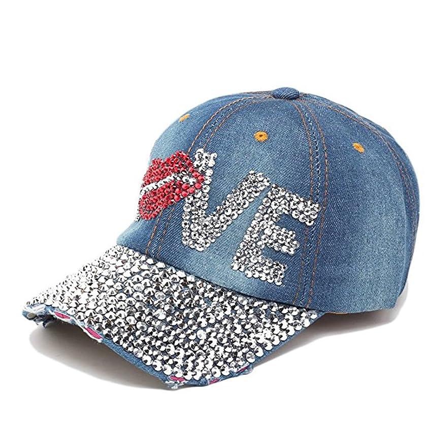 Xuzirui Women Bling Studded Rhinestone Hat Crystal Hat Love Lips Baseball Caps