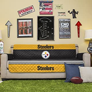 NFL Pittsburgh Steelers Sofa Couch Reversible Furniture Protector with Elastic Straps, 75-inches by 110-inches
