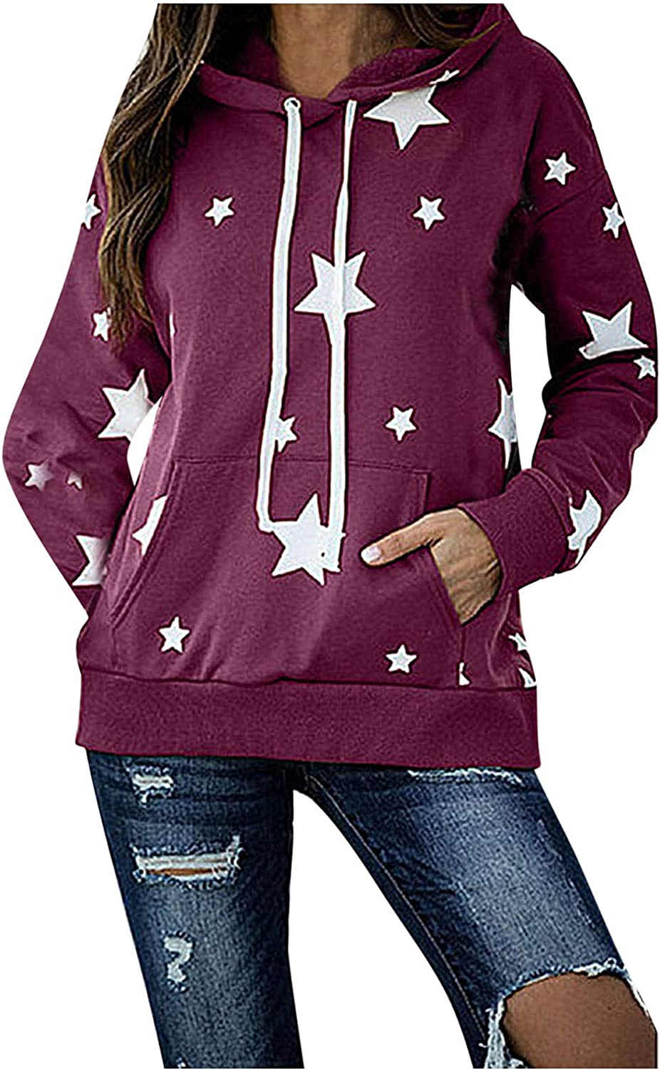 Women Fashion Hoodie Five-Pointed Star Printing Sweatshirt Drawstring Loose Autumn Winter Pullover with Pocket