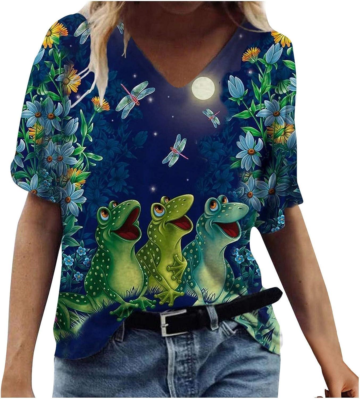 POLLYANNA KEONG Summer Tops for Women,Womens Summer Tops Floral Print T-Shirts V Neck Casual Short Sleeve Blouse Tops