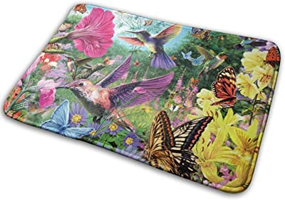 Spring Hummingbird Poppy Flower Tulip Floral Butterfly Large Doormats, Non Slip Durable Washable Home Decorative Door Mats Rugs for Entrance Bedroom Bathroom Kitchen, 23 X 16 Inches