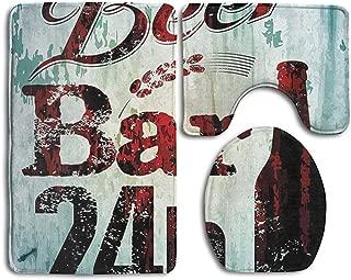 CoolToiletLidCoverCC Grunge Beer Bar 24h Figure Old Pub Sign Emblem Restaurant Graphic Bathroom Rug Mats Set 3 Piece,Funny Bathroom Rugs Graphic Bathroom Sets,Anti-Skid Toilet Mat Set