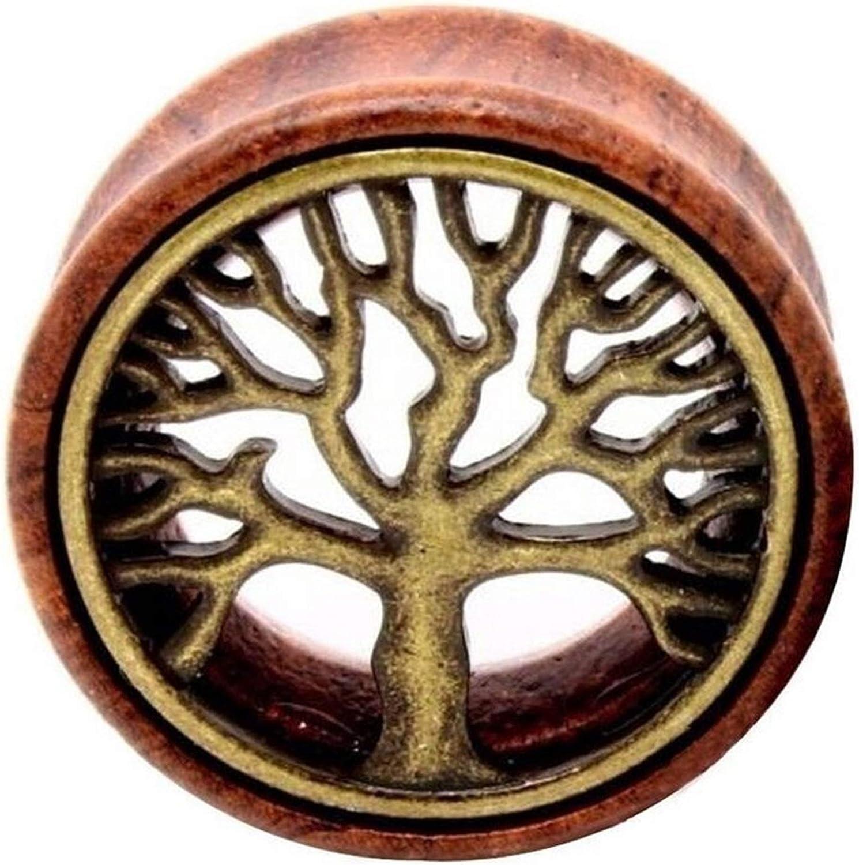 WAZG SYBLD 1 Pair Tree of Life Fashion Ear Plug Gauge to Ear Saddle Body Jewelry (Metal Color : 10mm)