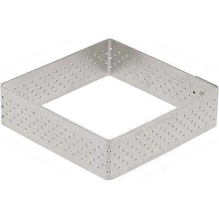 De Buyer 3099.22 Cercle à Tarte Perforé Carré Valrhona - inox - Bord Droit - ht. 2 cm - 20 x 20 cm