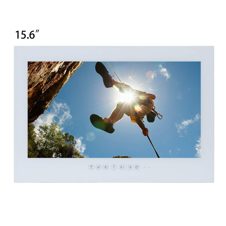 Haocrown Smart TV LED para baño IP66 Impermeable Sistema Android Televisor con Pantalla táctil con Wi-Fi Incorporado (15,6 Pulgadas, Blanco): Amazon.es: Electrónica