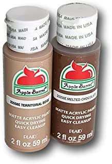 Apple Barrel Acrylic Paint Set - Territorial Beige and Melted Chocolate (2 Ounces Each)