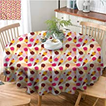 Elxmzwlob Round Outdoor Tablecloth,Ice Cream,Home Round Tablecloth,Cherries and Circles-(70