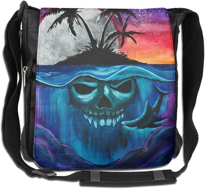 Shark and Skull Island Casual Unisex Shoulder Bag