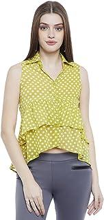 AASK Women's Polka dot Regular fit Shirt (AK_4059_Lemon L)