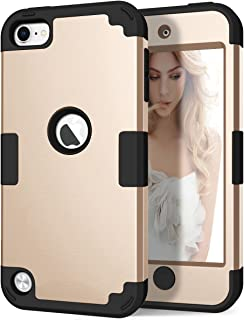 iPod 6th Generation Case, iPod 5th Generation Case, Hocase 3 in 1 Heavy Duty Shock Absorbent Silicone Hard Plastic Full Body Protective Case for iPod Touch 6th/5th Generation - Champagne Gold/Black