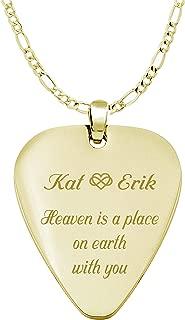 Engraved Gold Guitar Pick Necklace Pendant