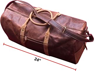 Duffel Bag Genuine Vintage Buffalo Leather, Classy & Smooth Large Brown Overnight Traveler Carry-on Luggage Duffle, Ideal for Gym, Sports, Vacation, Holiday, Weekend Perfect Gift for Men, Women