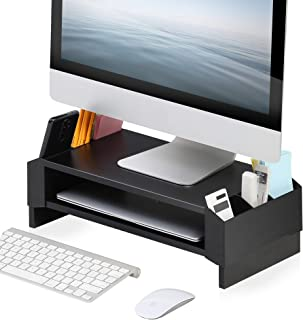 FITUEYES Monitor Stand Compatible with PC/Laptop/TVs 2 Tier Computer Riser Desk with Storage Shelf for Home Office and Sch...