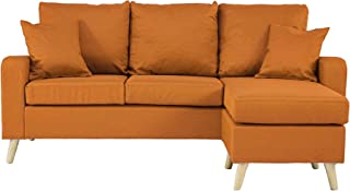 Divano Roma Furniture Middle Century Modern Linen Fabric Small Space Sectional Sofa with..