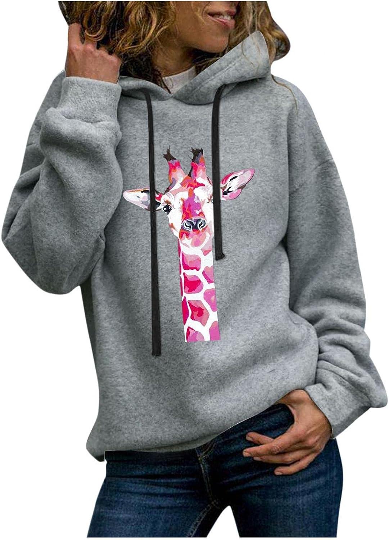Toeava Sweatshirt for Women Casual Hoodies Long Sleeve Funny Giraffe Graphic Pullover Tops Shirts Loose Sweatshirts