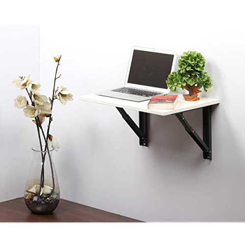 Dev Modular Folding Wall Mounted Wooden Study/Computer/Laptop/Office Table (Frosty White)