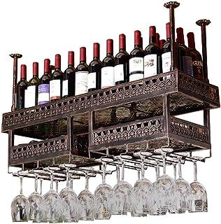 YZ-YUAN Casier à vin de Haute qualité Casier à vin Mural/Plafond en Verre-Verre Suspendu/Casier à vin/Bar Flottant/Support...