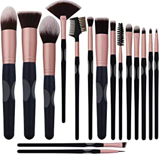 New BS-MALL Makeup Brushes Premium Synthetic Foundation Powder Concealers Eye Shadows Silver Black Makeup Brush Sets(16 Pcs,Rose Black) …