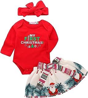 KUANDARM 2020 Newborn My First Christmas Strampler, Baby Rock Und Stirnband Set, Baby Mädchen Weihnachts-Outfits StramplerKleidStirnband