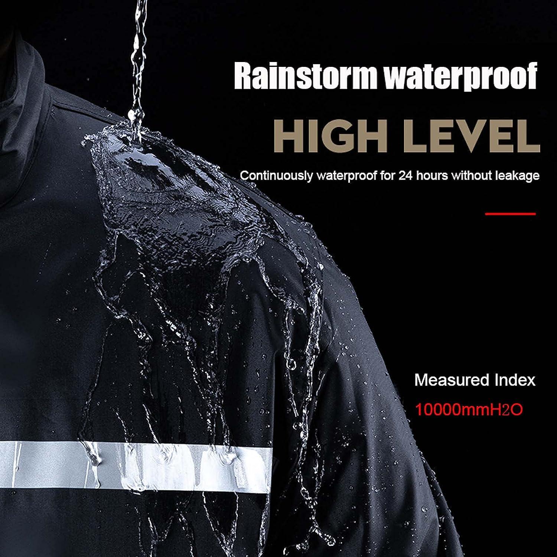 FHGH Double-Layer Commuter Split Raincoat, Thickened Reflective Men's Raincoat Set, Detachable Double Brim,E,Large