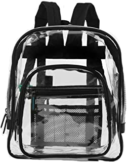 Heavy Duty Clear Backpacks For Adults, Men, Women and Kids - Perfect for School and Work - 3 Sizes Black or Pink