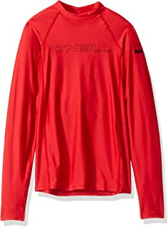 O'Neill Wetsuits Youth Basic Skins UPF 50+ Long Sleeve Sun Shirt,  Red,  Size 10