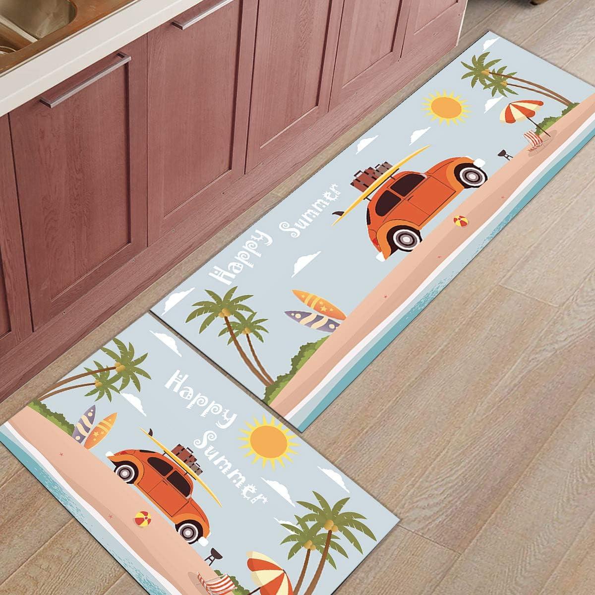 SUN-Shine 2 Pieces Kitchen Rug National uniform free shipping and Set Carp Columbus Mall Runner Absorbent Mat
