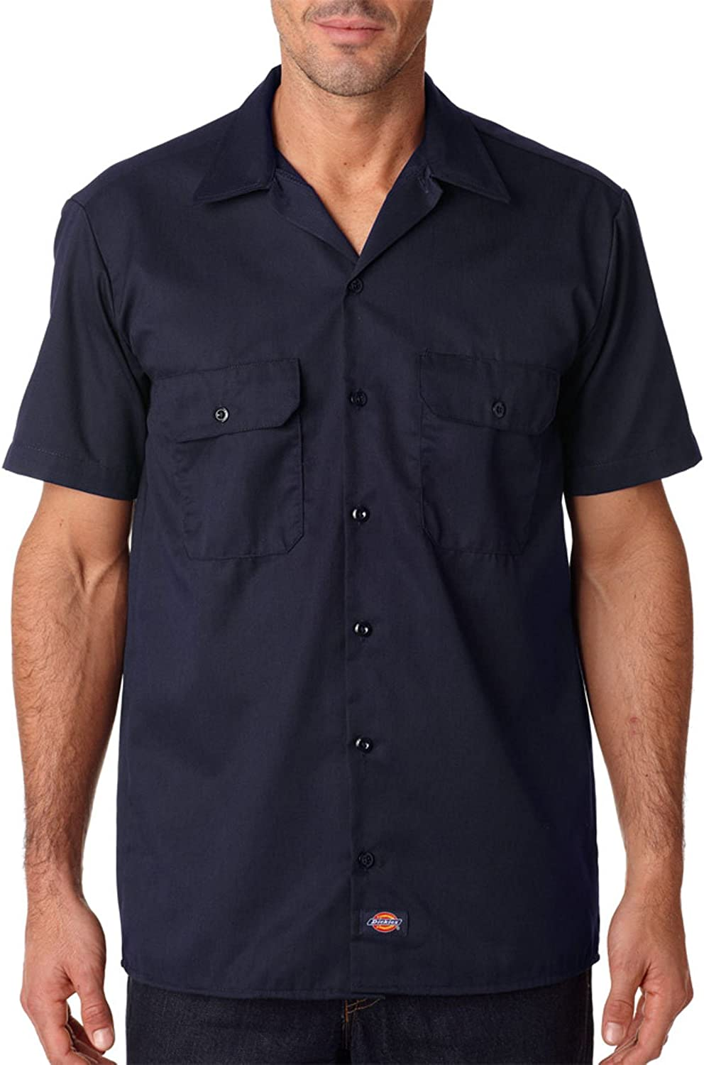Dickies Mens Solid Double Pocket Button Down Shirt