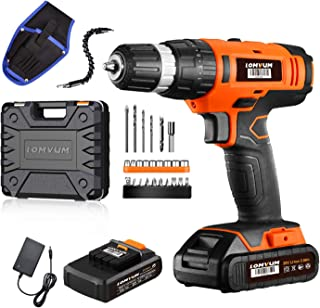 Lomvum 20V Cordless Impact Drill 8720T with 2 * 2.0Ah Li-Ion Batteries,2 Speed Hammer Drill Screwdriver 21 Torque with 27p...
