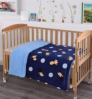 MB Collection Kids Soft & Warm Navy Blue, Blue Monkey Design Sherpa Baby Toddler Boy Blanket Printed Borrego Stroller or Baby Crib or Toddler Bed Blanket Plush Throw 40X50# Blue Monkey