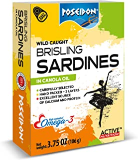POSEIDON WILD CAUGHT BRISLING SARDINES (IN CANOLA OIL) 3.75-Ounce Cans (Pack of 14)