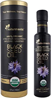 100% USDA Certified Organic Pure Black Cumin Seed Oil :: Cold Pressed for Potency :: Non GMO, Vegan, Gluten Free, Cruelty Free Nigella Sativa Oil in Light Blocking Bottle by Naturments 8 oz.