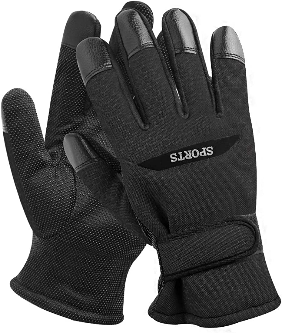 uxcell Men Winter Gloves Windproof Thermal Warm Glove for Cycling Skiing Climbing