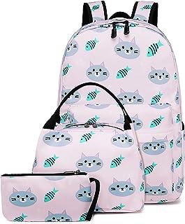 Backpack for School Girls Teens Bookbag Set Kids School Bag 15 inches Laptop Daypack (Cat-Pink)