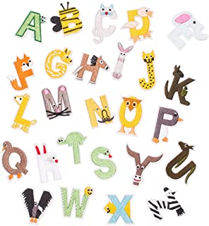 U-Sky Iron on Alphabet Patches, 26pcs Cute Animal Design A to Z Letter Iron-on Patch for Kids Clothing, Sew-on Appliques for Backpacks/Jeans/Clothes to Cover Logo/Rip (Design#1)