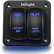 Nilight 90104B 2Gang Aluminum Laser Rear LED Light Bar Rocker 12/24V 5Pin ON/Off Pre-Wired Toggle Switch Panel for Marine Boat Car ATV UTV,2 Years Warranty
