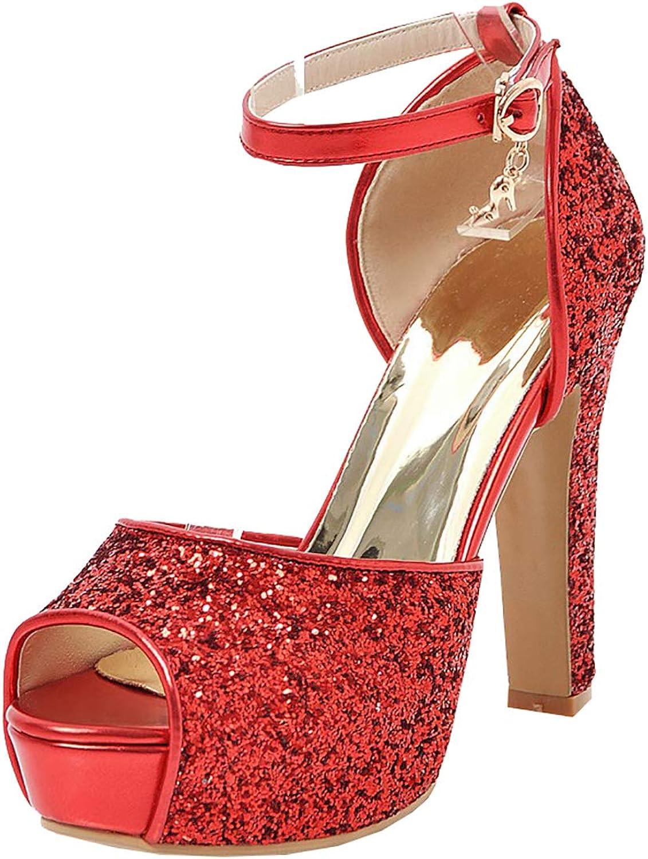 Artfaerie Womens Sequin Glitter Peep Toe Platform Block High Heel Sandals