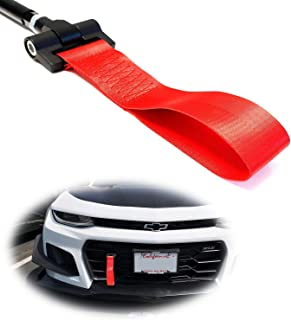 iJDMTOY Track Racing Style Red Towing Strap for 2016-up Chevy Camaro, Tow Hole Adapter Tow Rod w/Nylon Strap